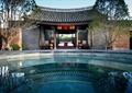 门楼,亭子,景观树,水池景观,地面铺装