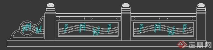 园林景观古建中式音符栏杆设计3dmax模型效果图[原创]
