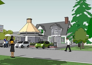 建筑设计某两层带泳池独栋别墅SU(草图大师)模型