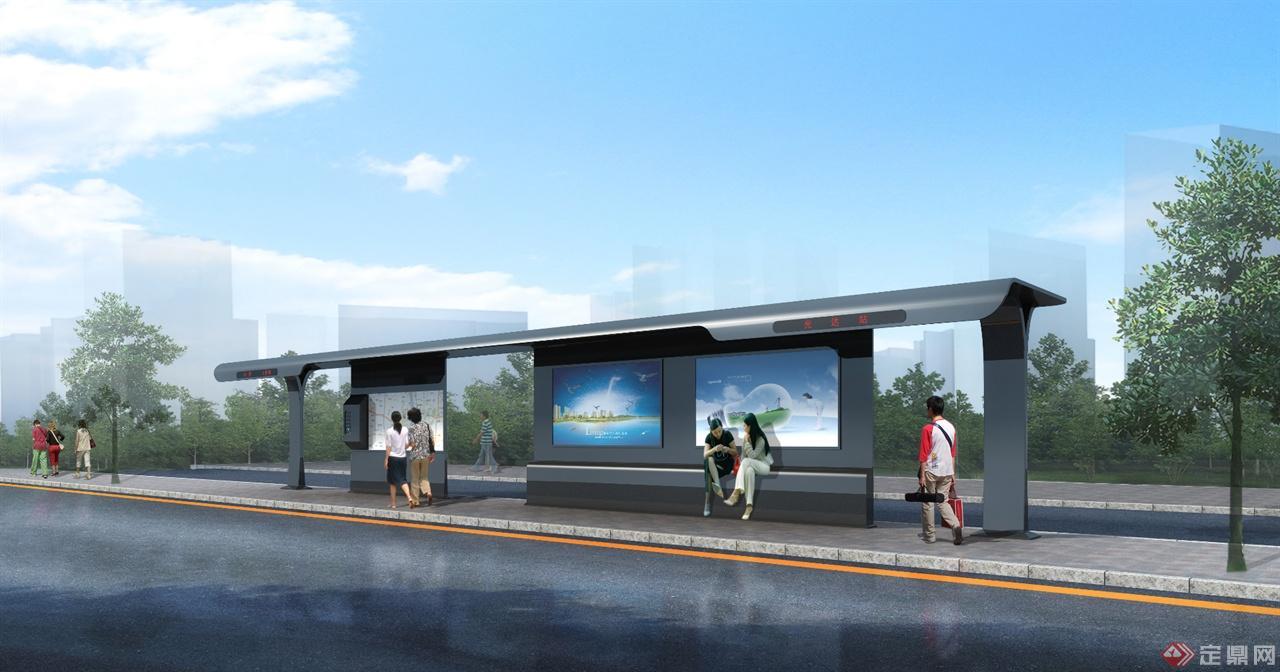 公交站-室外效果图