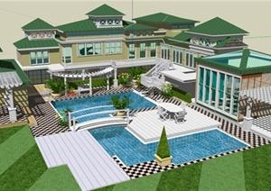 精品建筑设计某独栋别墅组合SU(草图大师)模型