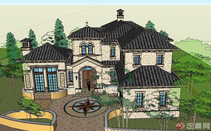 某两层欧式独栋别墅建筑设计su模型[原创]