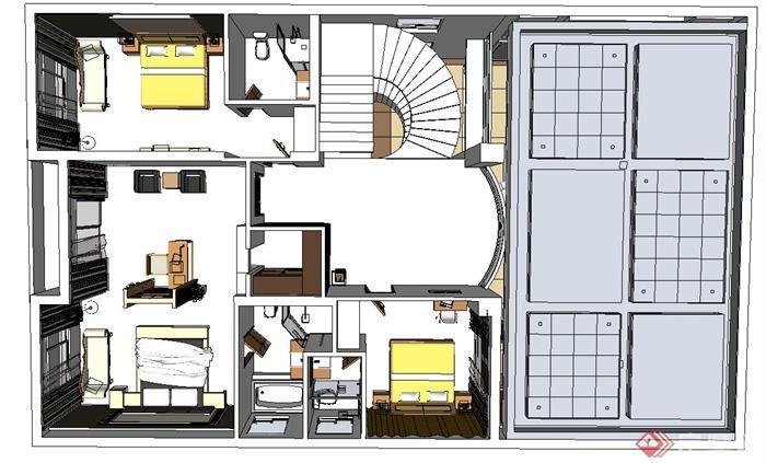 现代某某两层别墅室内装修布置设计su模型[原创]