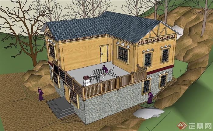 某两层坡屋顶中式居民住宅建筑设计su模型(2)