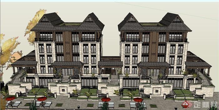 某五层联排欧式别墅建筑设计su模型[原创]