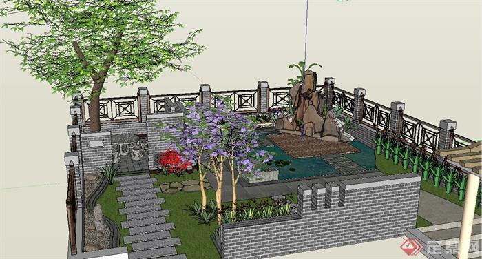 某中式别墅屋顶花园景观设计SU模型