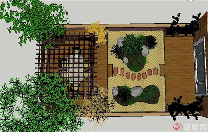 某别墅前院花园景观设计su模型(1)