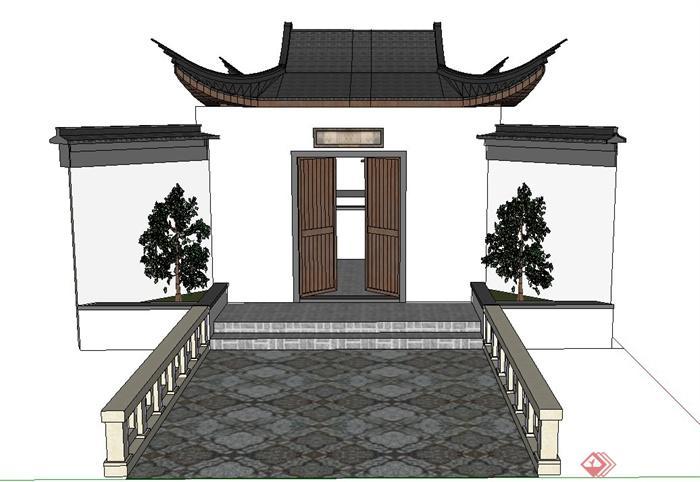 古典中式建筑门楼设计su模型(1)图片
