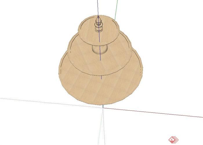 某欧式水钵喷水设计su模型[原创]