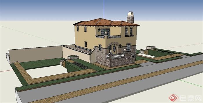 欧式独栋别墅建筑设计su模型(1)