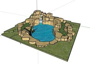 跌水式水池水景设计SU(草图大师)模型