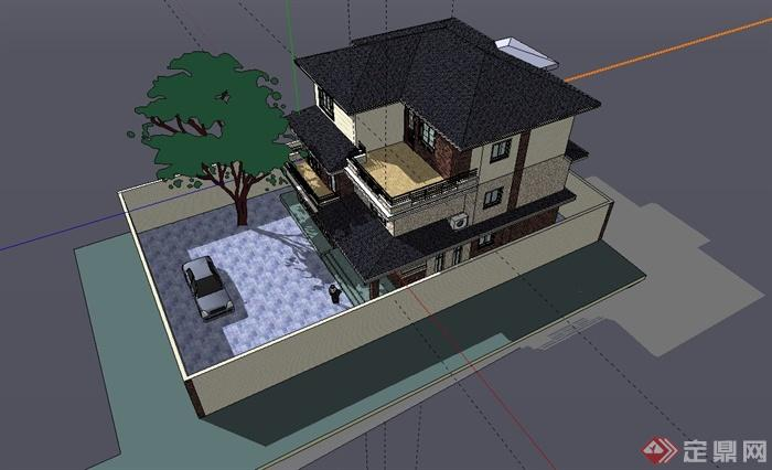 三层美式独栋别墅建筑设计su模型(2)