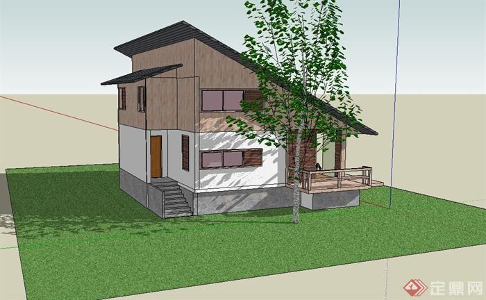 东南亚倾斜屋顶独栋别墅建筑设计su模型[原创]