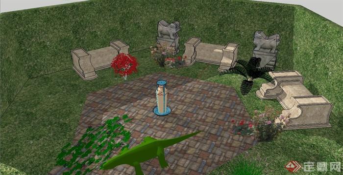 某别墅六边形花园建筑设计su模型[原创]