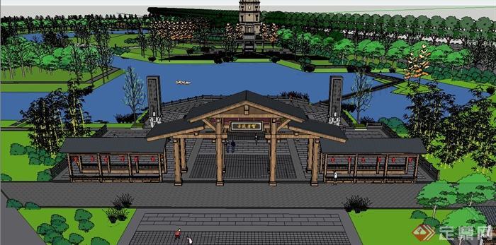 某古典中式北塔公园景观设计su模型[原创]