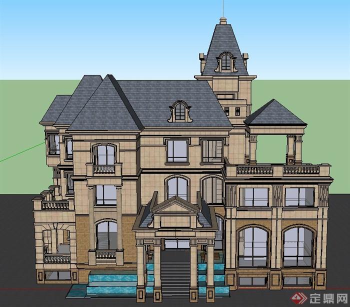 某三层英式独栋小别墅建筑设计SU模型图片