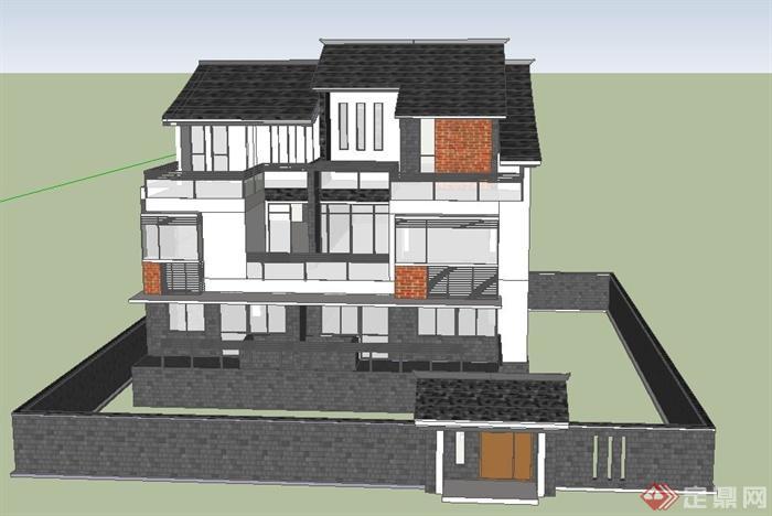 现代中式三层庭院住宅别墅建筑设计su模型[原创]
