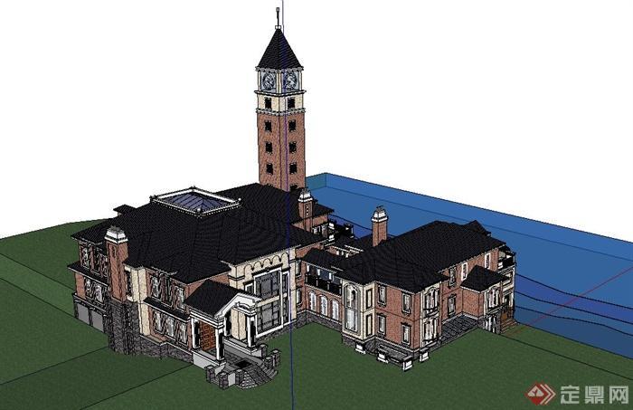某欧式大型别墅建筑设计su模型(含塔)[原创]