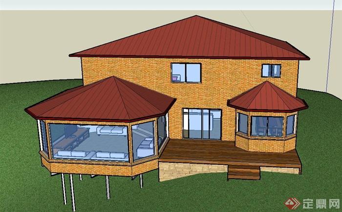 某两层欧式带车库阳光房别墅建筑设计su模型(2)图片