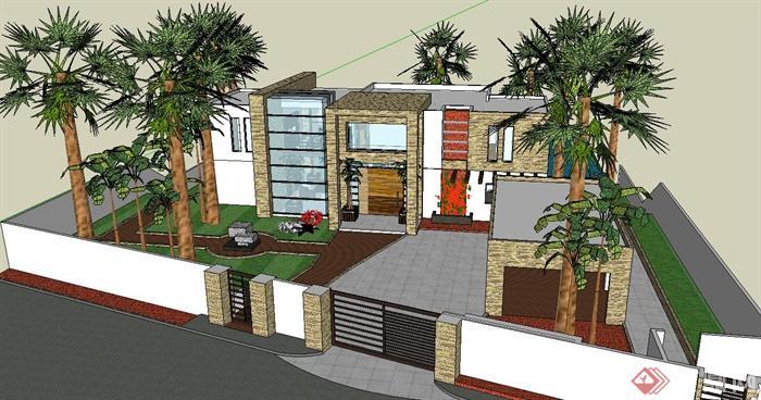現代某三層玻璃獨棟別墅建筑設計su模型(2)