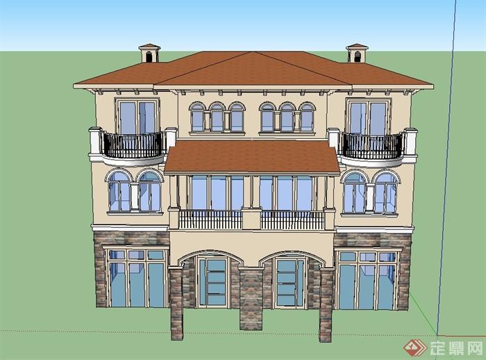 一个欧式三层别墅建筑设计su模型(3)