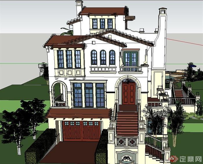 欧式精致三层别墅建筑设计su模型(1)