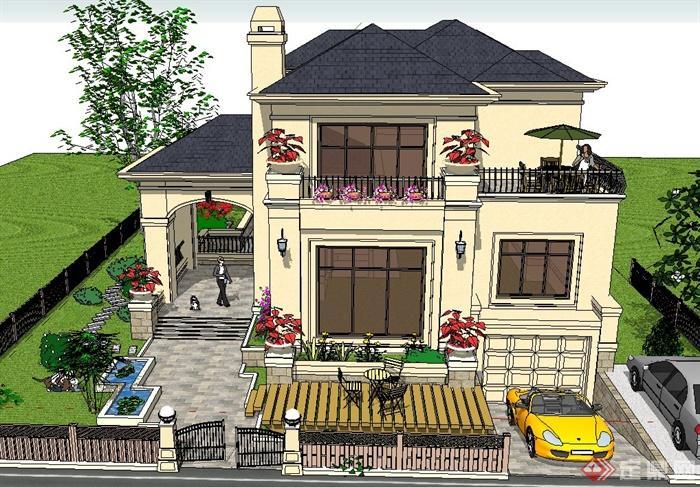 欧式两层独栋别墅建筑设计su模型[原创]