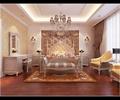 双人床,吊灯,地毯,桌椅,梳妆柜,背景墙,床头柜,壁灯,卧室