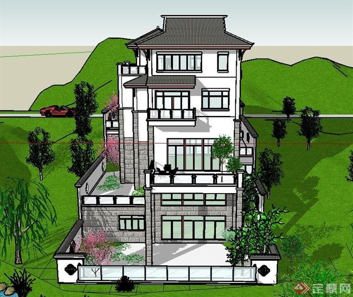 现代中式多层阶梯型别墅建筑设计su模型[原创]