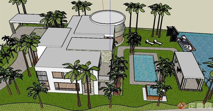 現代某兩層玻璃平房別墅建筑設計su模型(3)