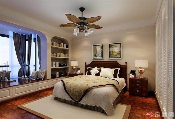 简欧风格设计图-双人床落地窗图片床头柜置物家装v风格什么房屋地毯图片