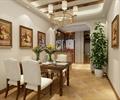 餐桌椅,花瓶插花,餐具,装饰画,盆栽植物,地面铺装,餐厅