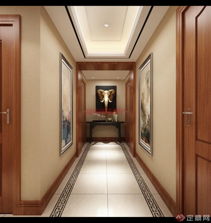 过道,装饰画,装饰品,装饰柜