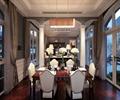 餐桌椅,花瓶插花,玻璃窗,天花吊顶,地面铺装,餐厅