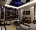 沙发组合,星空吊顶,屏风,装饰画