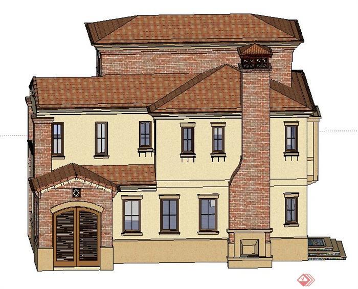 某欧式三层组合独栋别墅建筑设计su模型[原创]