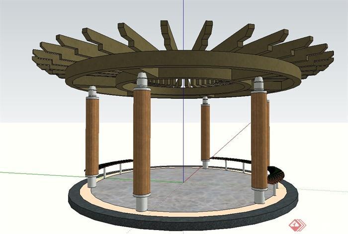 园林景观节点环形廊架设计su模型