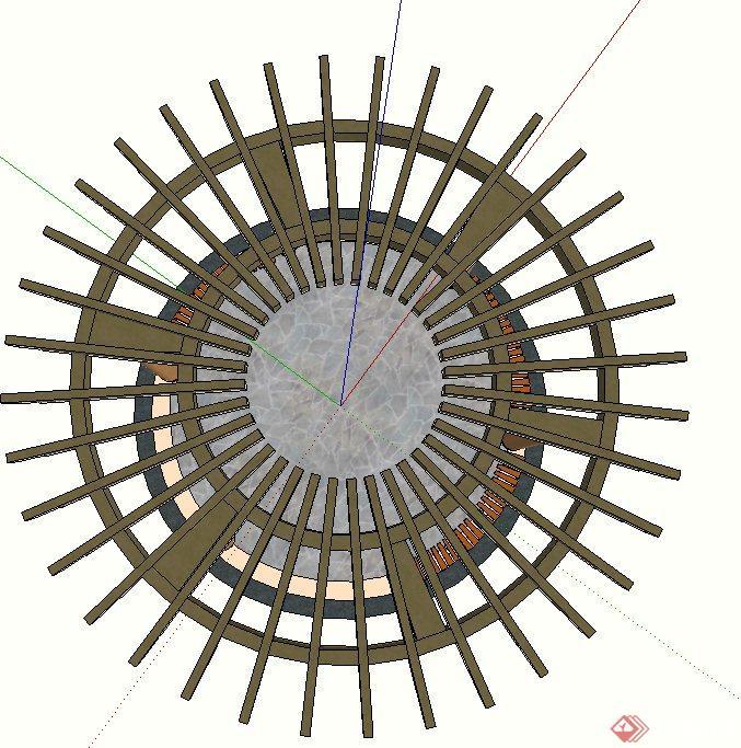 园林景观节点环形廊架设计su模型(3)