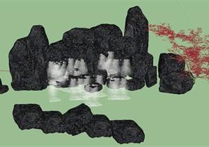 园林景观节点叠石设计SU(草图大师)模型