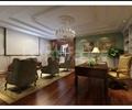 书房,视听室,书桌,装饰画,投影,单人沙发