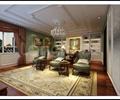 书房,装饰画,单人沙发,书桌,书柜