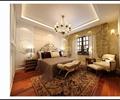 卧室,床,床榻,软包墙面,吊灯,单人沙发