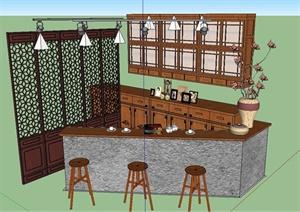古典中式商业空间柜台,屏风设计su(草图大师)模型图片