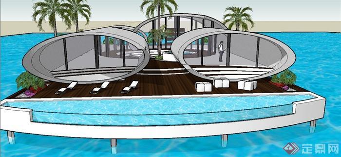 现代某单层椭圆形海上别墅别墅建筑设计su模型(1)