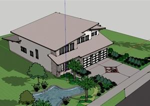 建筑设计某双层独栋别墅设计SU(草图大师)模型