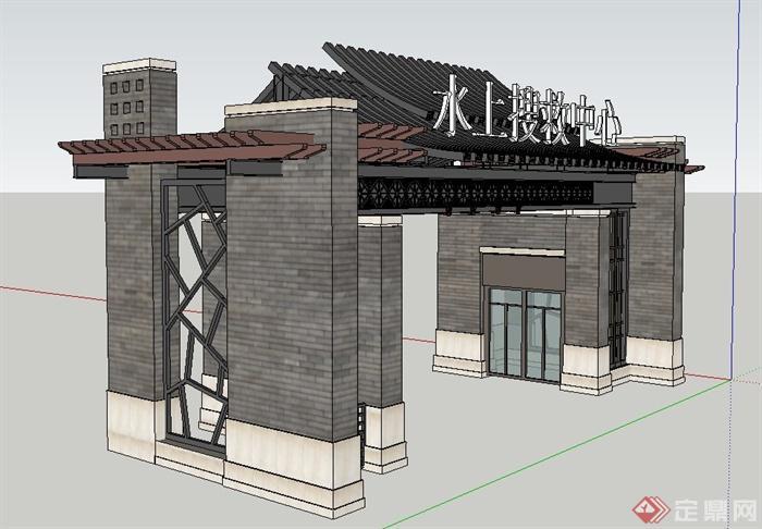 古典中式某入口大门门廊设计su模型