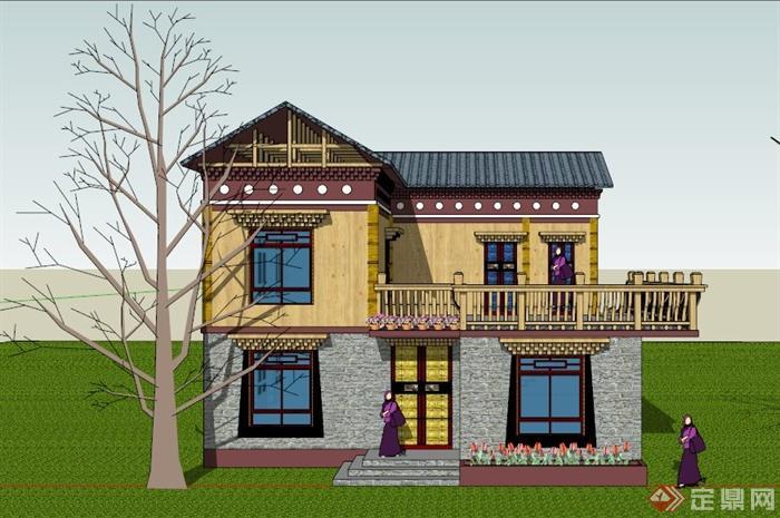 建筑设计民族特色独栋别墅设计su(草图大师)模型