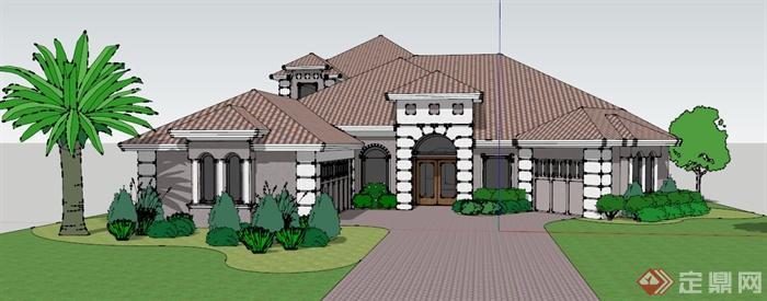 建筑设计欧式豪华独栋别墅设计su(草图大师)模型(1)