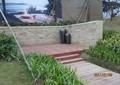 木平台,景观墙,陶罐