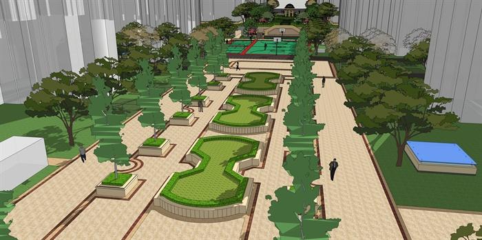 欧式小区景观设计su模型